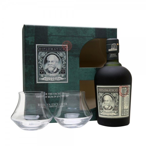 Diplomatico Reserva Exclusiva Rum 2 Glass Gift Pack 70cl