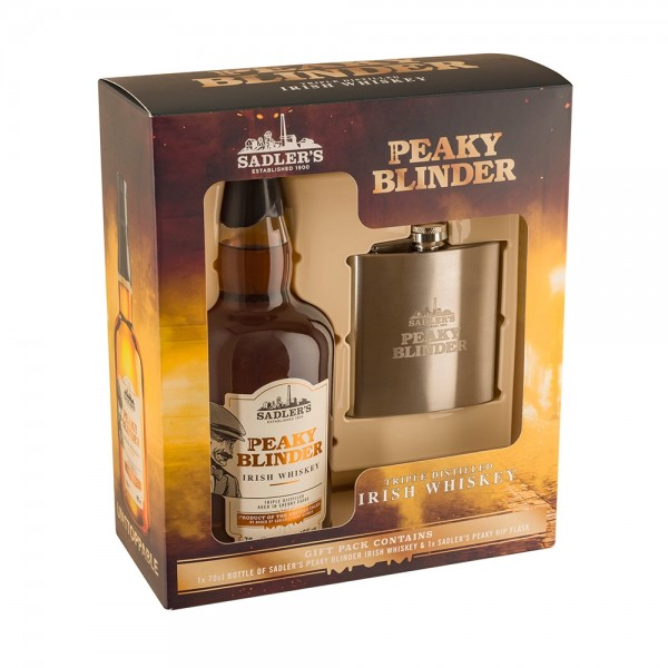 Peaky Blinders Whisky + Hip Flask Gift Pack 70cl