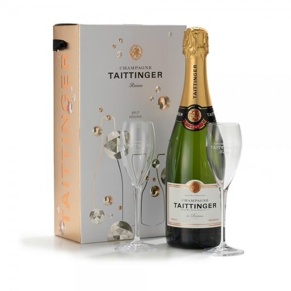 Taittinger Brut Brut Reserve x 2 Glass Gift Pack 75cl